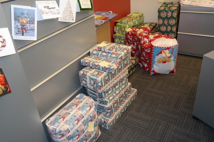The BPGS Construction offices are packed with holiday presents!