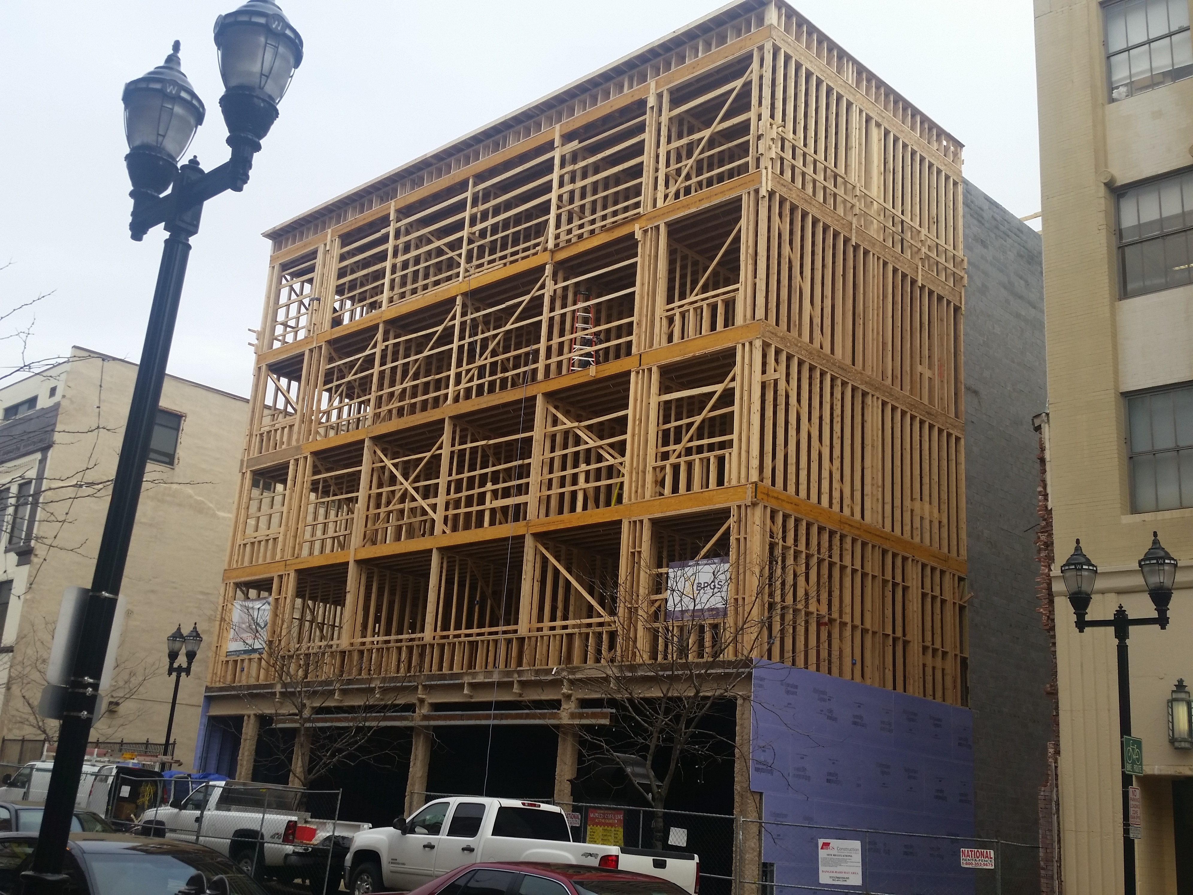 the wood framing at 608 market street is complete - Wood Framing