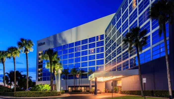 Hilton exterior at dusk