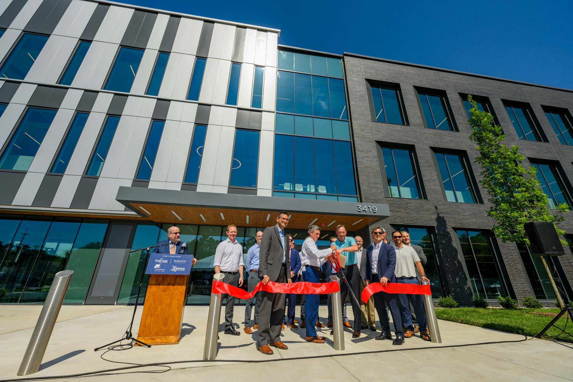 BPGS, BPG, and public officials cut ribbon for Marlette funding new office building